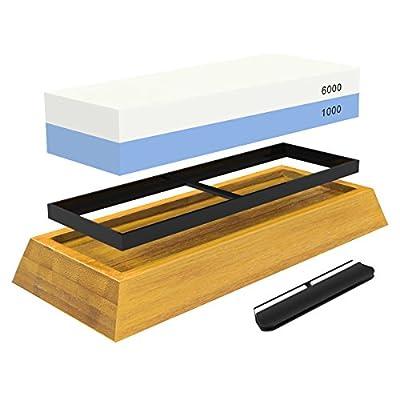 WHETSTONE: 2-Sided Professional Grade Knife Sharpening Stone -- #1000 & #6000 Grit -- Non-Slip Bamboo Base & BONUS Angle Guide