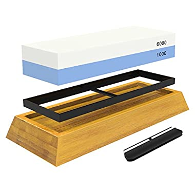 WHETSTONE: 2-Sided Professional Grade Knife Sharpening Stone -- #1000 & #6000 Grit -- Non-Slip Bamboo Base & BONUS Angle Guide