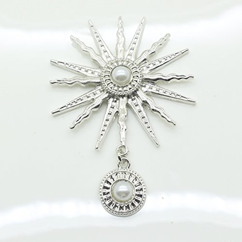 Ribbon Pearl Bracelet Faux (XINXI 10cps/lot 8.5CMX6CM Sunflower metal hanging drop Faux ivory pearl Rhinestone buttons Flat Back Embllishment for Hair Flower Center Brooch (Silver))