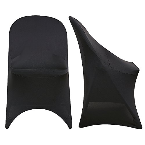Surmente Polyester Spandex Folding Chair Covers for Weddings, Banquets, or Restaurants (6, Black) by Surmente