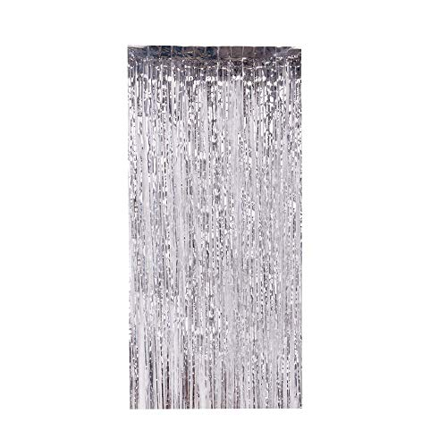 Lelinta 3.28X9.84ft Metallic Tinsel Foil Shimmer Fringe Rain Curtains Backdrop Curtain for Wedding Party Birthday Photo Background Decorations (Silver-2 PCS)
