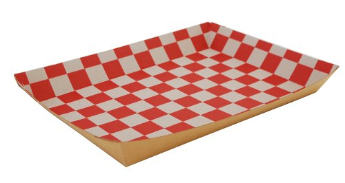 Southern Champion Tray 0590 Kraft Paperboard Red Checkerboard Interior Nested Lunch Tray, 10-1/2'' Length x 7-1/2'' Width x 1-1/2'' Height (Case of 250) by Southern Champion Tray