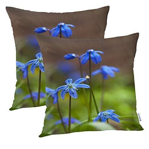 Batmerry Floral Pillow Covers 18x18 Inch Set of 2, Bouquet ofFlowers inYellow andBlue Double Sided Square Pillow Cases Pillowcase Sofa Cushion