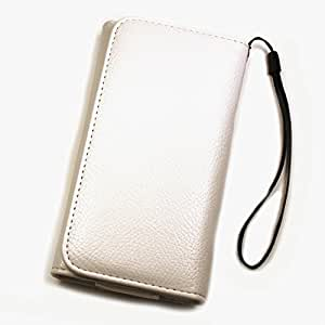 Funda cartera de piel sintética color blanco XXL para Sony Xperia ZR