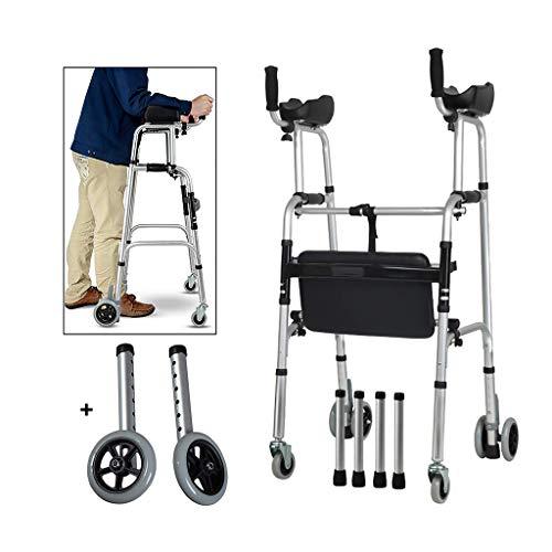 FKDEWALKER Aluminium Foldable Walking Frame,Wheeled Walker with Arm Rest,Walking Mobility Aid,,Lower Limb Trainer,Standard Walker (Color : 6 Wheels+4 Walker Legs+seat)