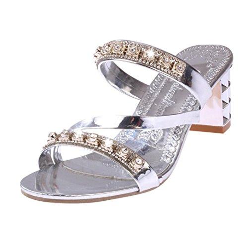 col con Silver con tacco alto scarpe da WSK donna pantofole tacco e sandali Infradito e da con strass alto donna donna da Sandali Scarpe 5wXqXxnag