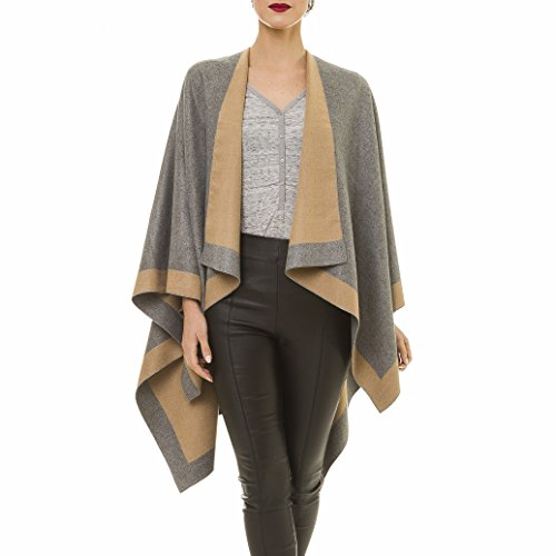Cardigan Poncho Cape: Women Elegant Khaki Camel Gray Cardigan Shawl Wrap Sweater Coat for Winter (Gray Khaki)