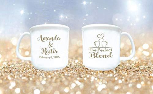 wedding mugs, winter wedding favors, the perfect blend, personalized wedding coffee bar mugs