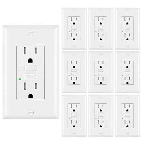 [10 Pack] BESTTEN GFCI Outlets (15A/125V/1875W), Tamper-Resistant Receptacles, LED Indicator, Decorative Wall Plates and Screws Included, ETL Certified, White