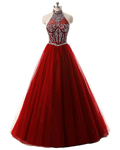 Pettus Women's Crystal Beaded Halter Sequined Evening Gowns Formal Backless Prom Dresses (Sequined Halter Gowns)