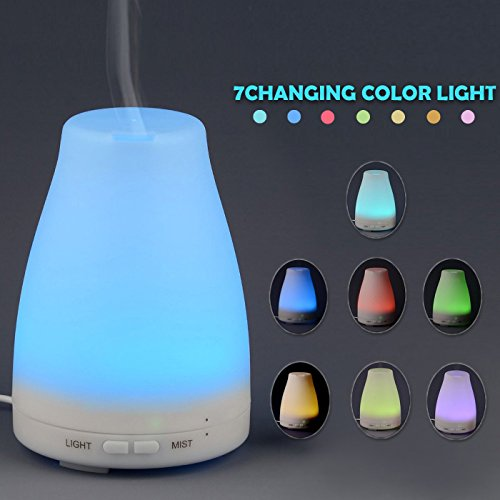 Price comparison product image Aromatherapy Essential Oil Diffuser 150ml Portable Ultrasonic Cool Mist Diffusers Humidifier with 7 Color Changing LED Lights and Waterless Auto Shut-Off for Home and Office