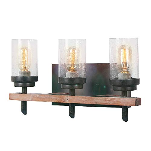 Eumyviv Wood Wall Sconce with Seeded Glass Shade, Vintage Stylish Hardwire Industrial Wall Light Bathroom Lighting Log Cabin Home Retro Edison Sconce Light Fixtures 3-Lights, Brown (17806)
