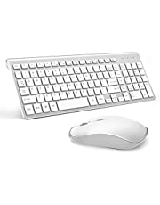 Wireless Keyboard and Mouse Combo, Compact Wireless Keyboard with Numeric Keypad and Ergonomic Full-size 2400 DPI Mouse for PC, Mac,iMac,Desktop, Computer, Laptop, Windows XP/Vista/7/8/10 by J JOYACCESS-Silver and white