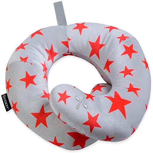 BCOZZY Kids Chin Supporting Patented Travel Pillow - Keeps The Childs Head from Bobbing up and Down in car Rides, Providing Comfort and Support for The Neck and Head. Child Size (Gray Red Stars)