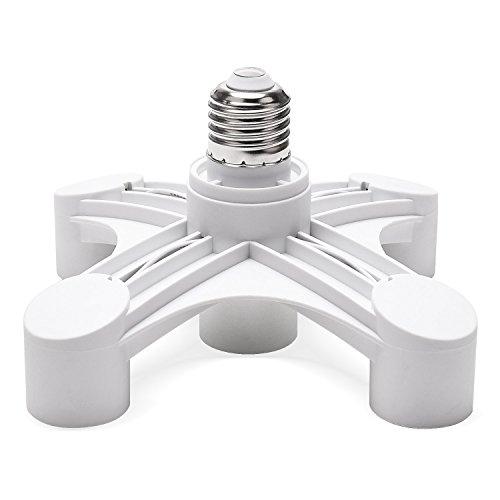 JACKYLED 5 in 1 Light Socket Splitter E26 E27 Adapter 5 Way Light Splitter Converter for Standard Light Bulbs