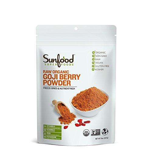 Sunfood Superfoods Goji Berry Powder. Raw, Organic, Non-GMO. 100% Pure Goji Fruit: No Additives or Preservatives. 8 oz Bag