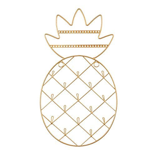 The Bridge Collection Wall-Mounted Gold Pineapple Jewelry Rack ()