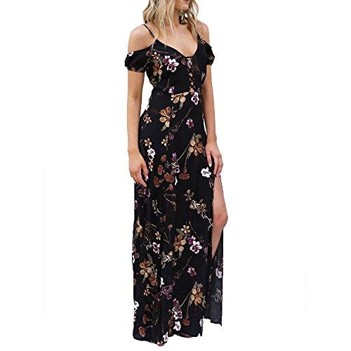 領事館南西安らぎ(ブルー空) Bluesky 吊りスカート ドレス Vネック プリント スリット ワンピース イブニング パーティー ドレス