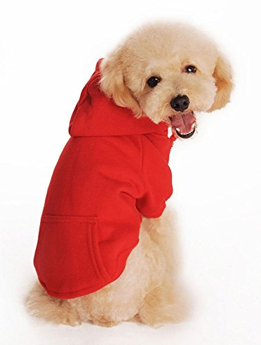 (Fashion shop Pet Coat Polyester/Cotton Basic Dog Hoodie,Dog Jacket,Dog fleece for young dog and Large dog,6 sizes avaiable and 4 Color for choose . (Red, M (Back)
