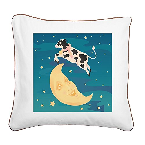 Square Canvas Throw Pillow Brown The Cow Jumped Over the Moon