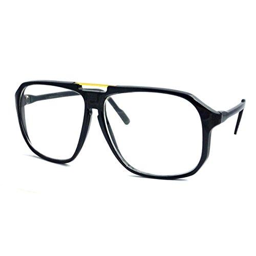 RETRO Aviator Metal Bridge Square Frame Clear Lens Eye Glasses - Eyes Rx Clear
