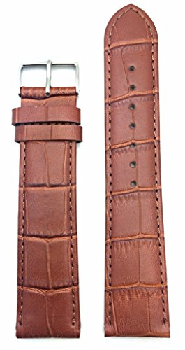 22mm Long, Honey Brown Alligator Square Crocodile Grained Genuine Leather Watch Band | Lightly Padded Replacement Wrist Strap That Brings New Life to Any Watch (Mens Long Length)