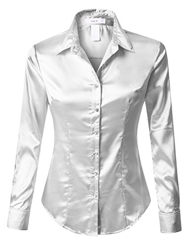 (RK RUBY KARAT Womens Long Sleeve Satin Blouse with Cuffs)