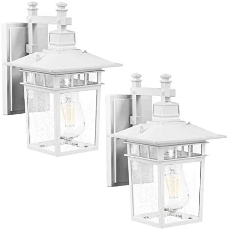 LED Wall Lantern, Wall Sconce as Porch Light, 100-150W Equivalent , 1100 Lumen, Aluminum Housing Plus Glass, Matte Finish, Outdoor Rated, ST64 8W ,White for 2Pack 9244S
