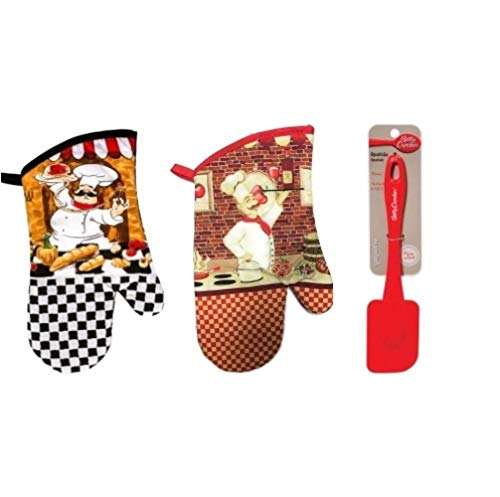 - Scout & Company Italian Chef Baker Oven Mitt Set + Spatula   3 Piece Red Kitchen Decor Baking Bundle