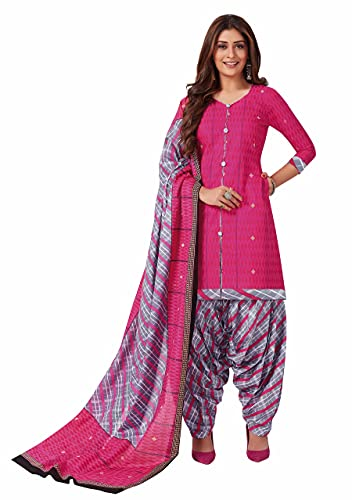 Miraan Women Cotton Unstitched Dress Material (BANDCOL807, Pink, Free Size)