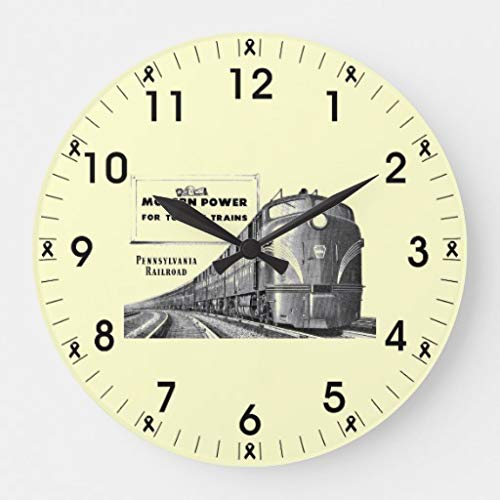 Pennsylvania Railroad Modern Train Power Wooden Wall Clock for Living Room Bedroom Kitchen Home Office Decoration 16 Inches
