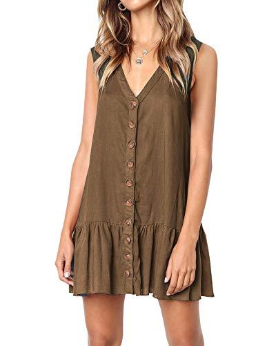 Imysty Womens Polka Dot V Neck Button Down Ruffles Loose Mini Short T-Shirt Dress (Small, Z2-Army Green)