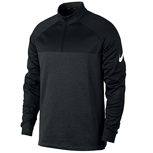 NIKE Mens Therma Core Golf Half Zip Shirt Black/Heather/White 854498-010 Size (Nike Half Zip Pullover)
