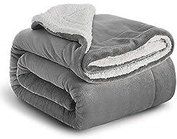 Bedsure Fuzzy Textured Reversible Sherpa Throw Blanket