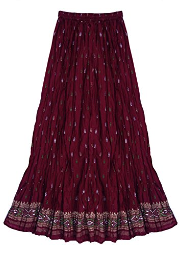 Crinkled Tiered Dress - Anu 100% Cotton Block Printed Crinkled/Crushed Long Skirt: Red: S