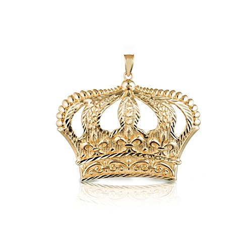 Crown Charm Pendant Necklace - 10k Yellow Gold Open Big Crown Charm Pendant with Diamond Cut Design, (Small)