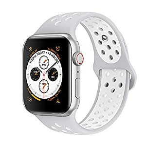 EWORLD Compatible for Apple Watch Bands 42mm 44mm,Soft Silicone Replacement Wristband &, Sport design Compatible for iWatch Apple Watch Series 1/2/3/4 - Pure platinum white