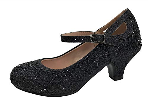 Link Glitter Sparkling Dress Mary Jane Pageant Shoes Low Medium Heel Pumps, Black, 9]()