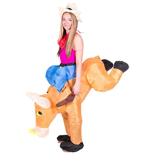 Inflatable Bull Rider Halloween Costume (Adult Mens Womens Inflatable Bull Rider Fancy Dress Cowgirl Cowboy Costume Rodeo Outfit For Purim Halloween Dance Party)