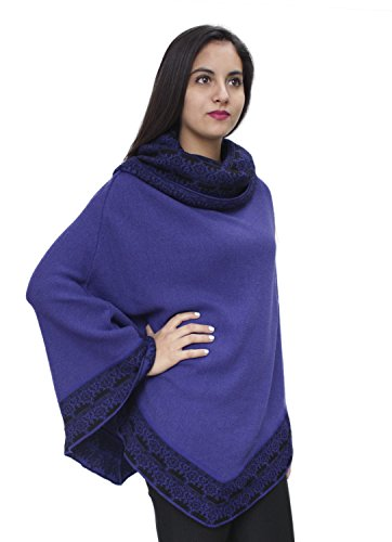 Women's Superfine 100% Baby Alpaca Wool Handmade Knit Premium Poncho One Size Extremely Soft And Warm (Purple) by Alpaca Warehouse (Image #2)