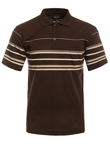NE PEOPLE Men's Everyday Basic Stripe Polo T-Shirts