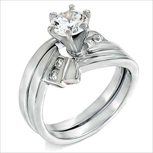 1.25 Carat Round Brilliant Cubic Zirconia Silver Wedding Ring - 9