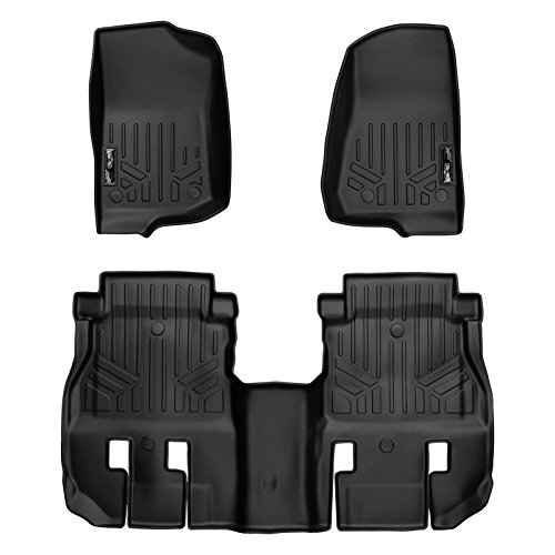 SMARTLINER Floor Mats 2 Row Liner Set Black for 2018 Jeep Wrangler Unlimited (JL New Body Style - not JK) (Black New Lip)
