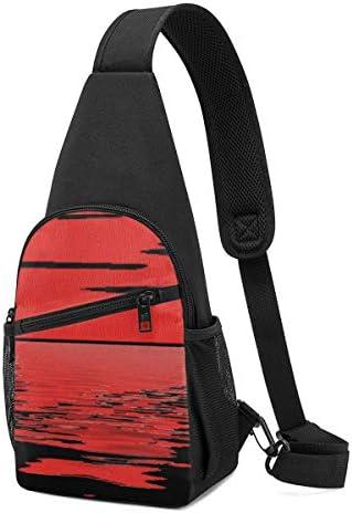 ボディ肩掛け 斜め掛け 夕焼け 太陽 ロゴ ショルダーバッグ ワンショルダーバッグ メンズ 軽量 大容量 多機能レジャーバックパック