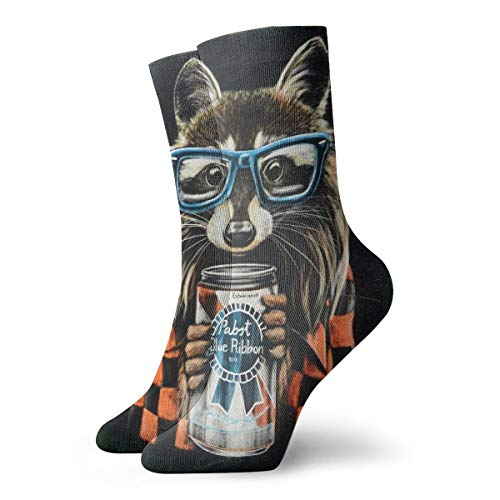 (Unisex High Ankle Cushion Crew Socks Raccoon Art Picture Casual Sport)