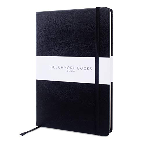 Premium British Ruled Notebook/Notepad - Beechmore Books A5 Classic Notebook, 120 gsm cream paper, Vegan Leather, Hardcover Notebook in Gift Box (Lined, Charcoal ()