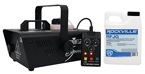 Package: Chauvet DJ H1200 Hurricane 1200 Compact Fog Machine With Wired Timer Remote, Always Ready Technology, and Residue Free Fog-18,000 CFM + Rockville RFJG Gallon Fog/Smoke Juice Fluid by Chauvet