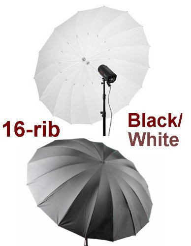 lack/White 16-Rib Reflective Umbrella for Alienbees, Balcar, Bowens, Elinchrom, Hensel, Photogenic, Norman, White Lightning, Flash Broncolor, Pulso, Broncolor Impact, Visatec, Speedotron, Smith Victor Strobe Flash Light (Speedotron Umbrella)