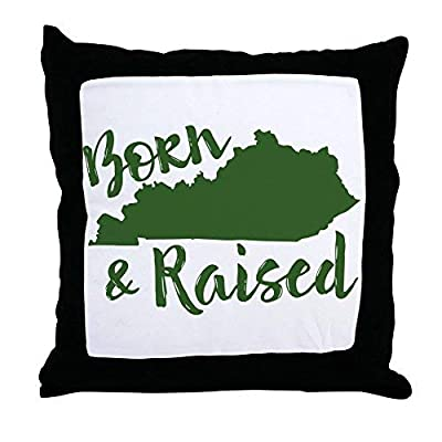 Pattebom Home Decor Kentucky - Born & Raised Canvas Pillow Covers 18 x 18 Decorative Farmhosue Decor Throw Pillows with Zip Couch Cushion Covers Funny Gifts