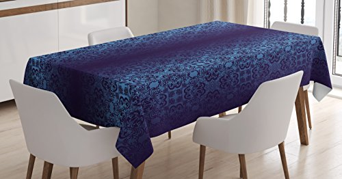 Royal Blue Tablecloth by Lunarable, Baroque Inspired Damask Victorian Vintage Classic Shabby Rococo Style Motif Print, Dining Room Kitchen Rectangular Table Cover, 60 W X 90 L Inches, Dark Blue (Victorian Table Cover)